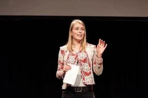 Frederike Brockhoven tijdens haar winnende presentatie